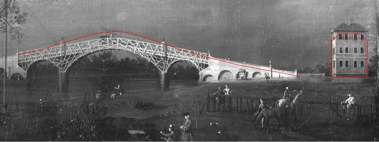 <i>Old Walton Bridge</i> (fig. 2),  1755, oil on canvas, 46 x 122.2 cm, Yale Center for British Art, New Haven, Connecticut (B1981.25.86)
