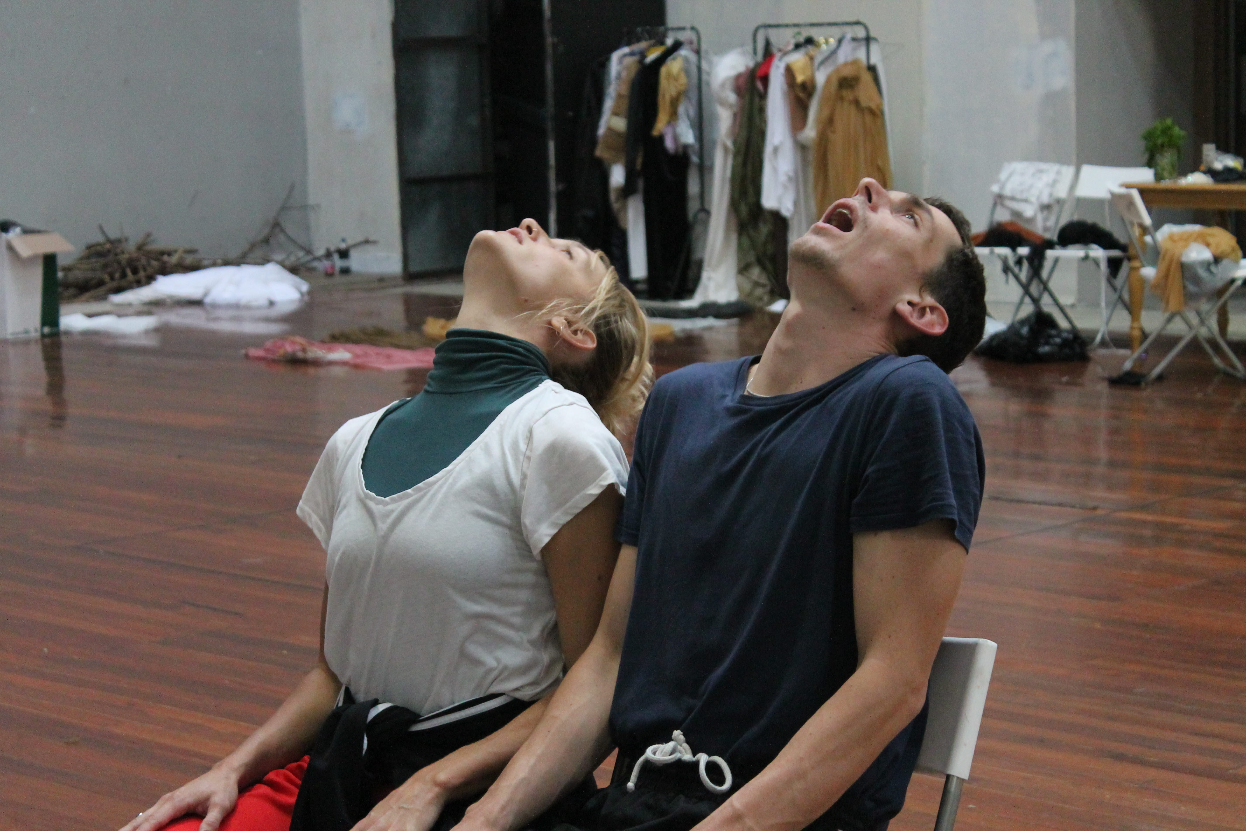 "2018. Alessandro and Tilly work on a sequence inspired by the ""excessive machine"" in Roger Vadim's <i>Barbarella</i> (1968). An opening discussion among the dancers about the spectacle of violence and the ejaculatory, orgasmic qualities associated with its display was followed by experimentation with the source material. The choreographed sequence, which was ultimately excluded from the film, closely quoted Jane Fonda's movements and facial expressions as she suffered the euphoric violence of the ""Orgasmatron""."