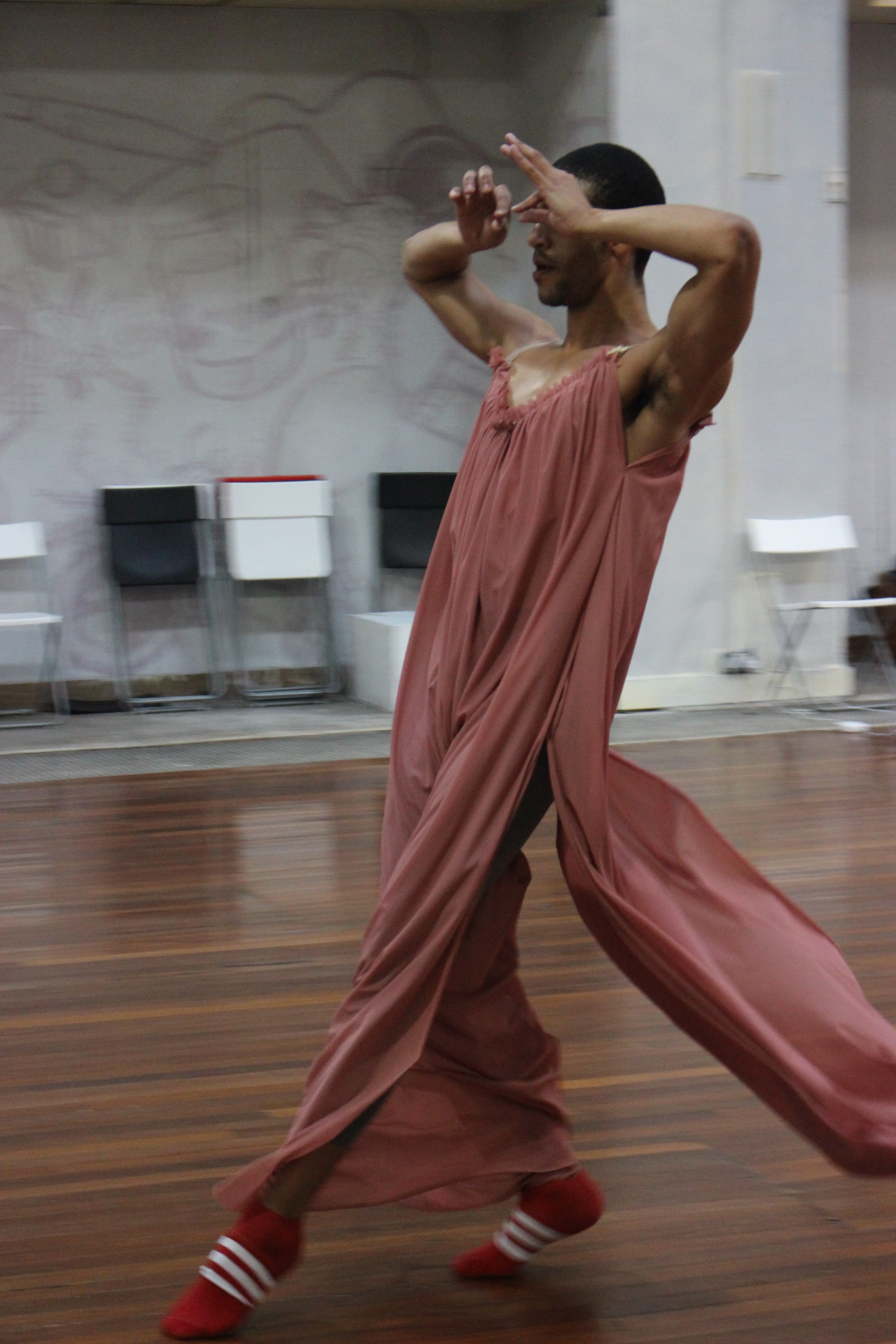 2018.<br> Harry works on a routine, choreographed with Roseanna, that expresses elation, freedom, and goodwill. Roseanna choreographed their costumes into the dance as a central element, playing on the buoyancy of the chiffon to amplify the lift of the jumps, and using the floating and fluttering corners of the dress to heighten the flowing quality of the motion.