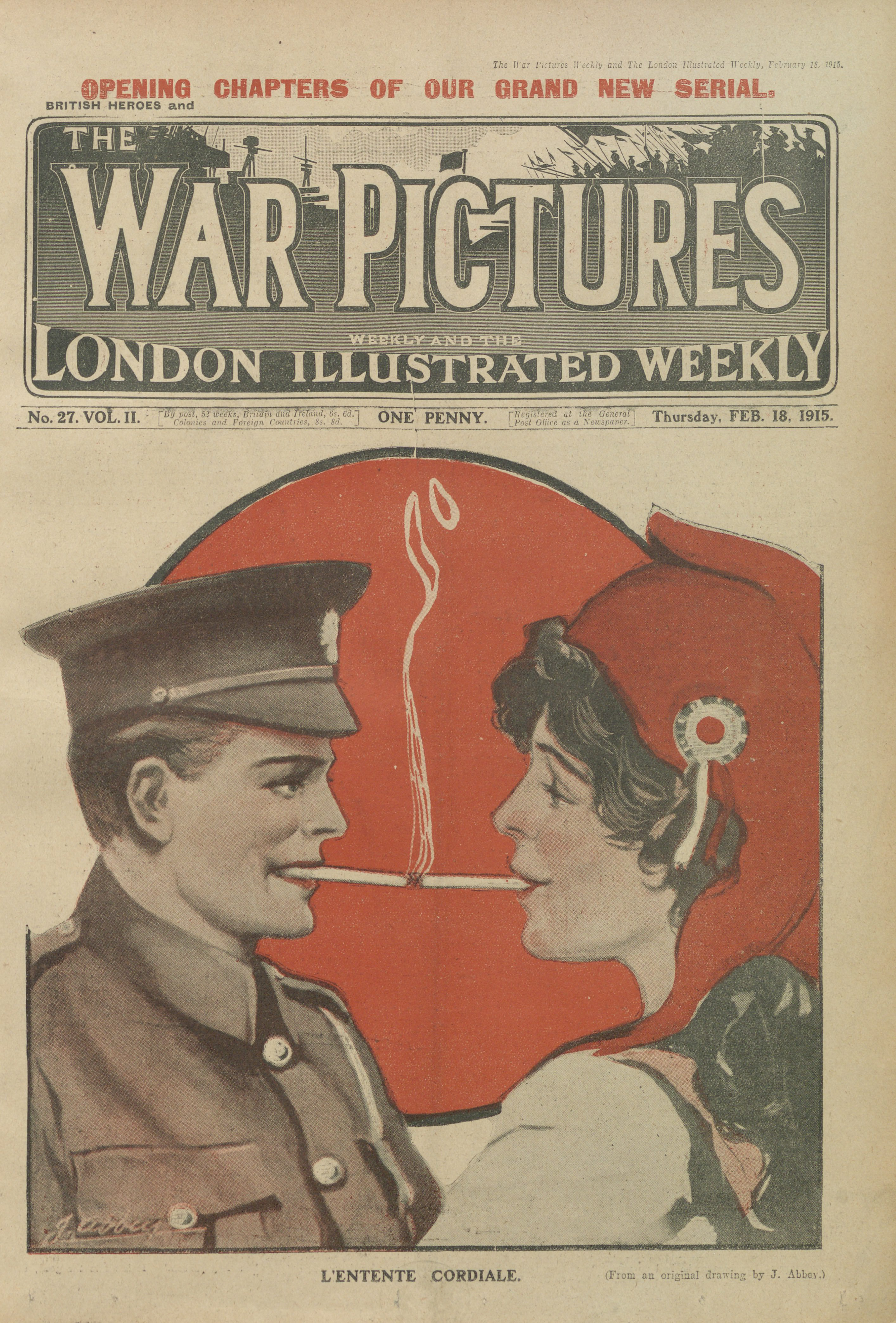cover design (from an original drawing by J. Abbey) for <i>The War Pictures Weekly</i> and <i>The London Illustrated Weekly</i>, no. 27, Vol. II, 18 February 1915. Collection of The British Library.