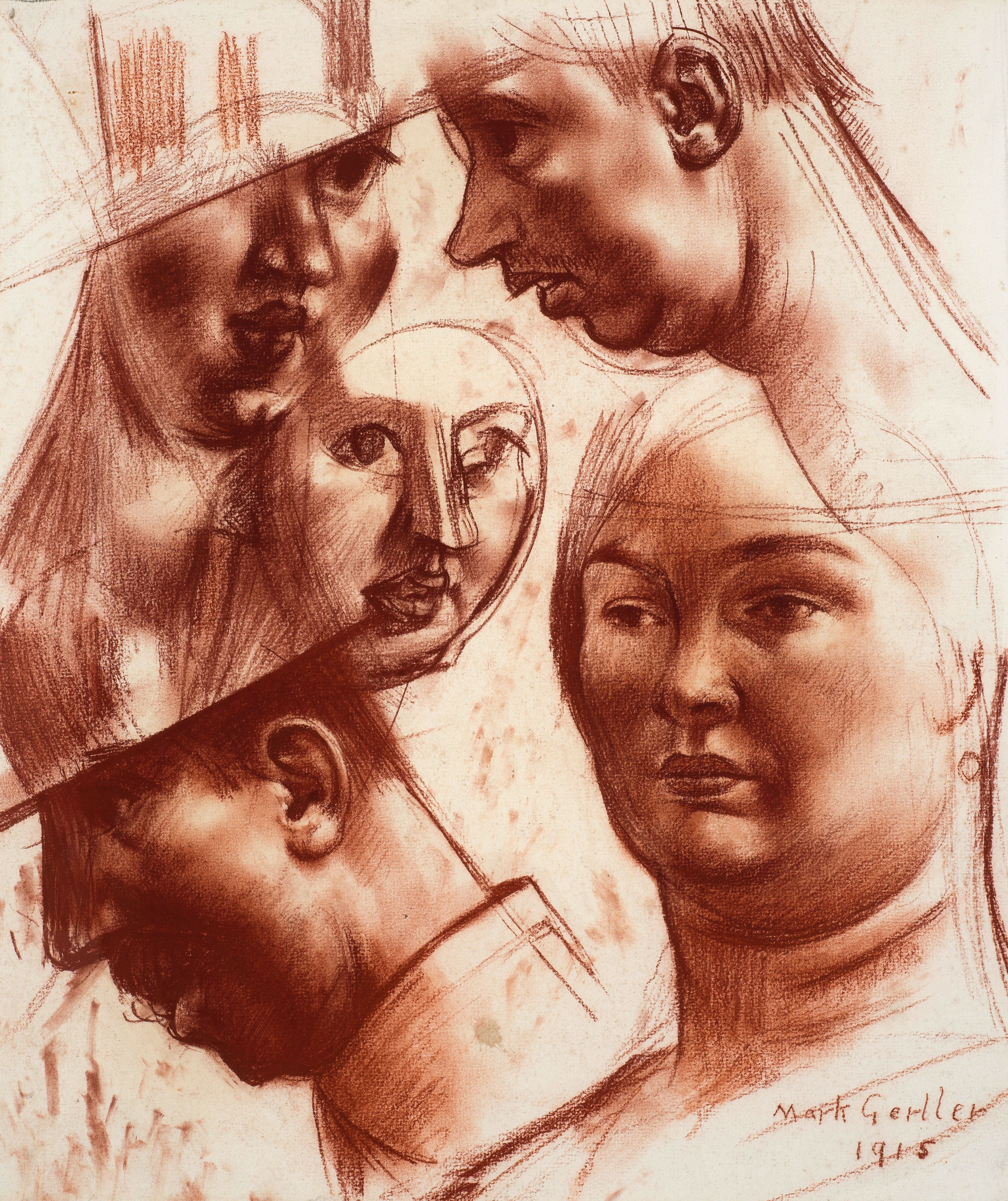 "Study of Heads for ""Merry-Go-Round"""