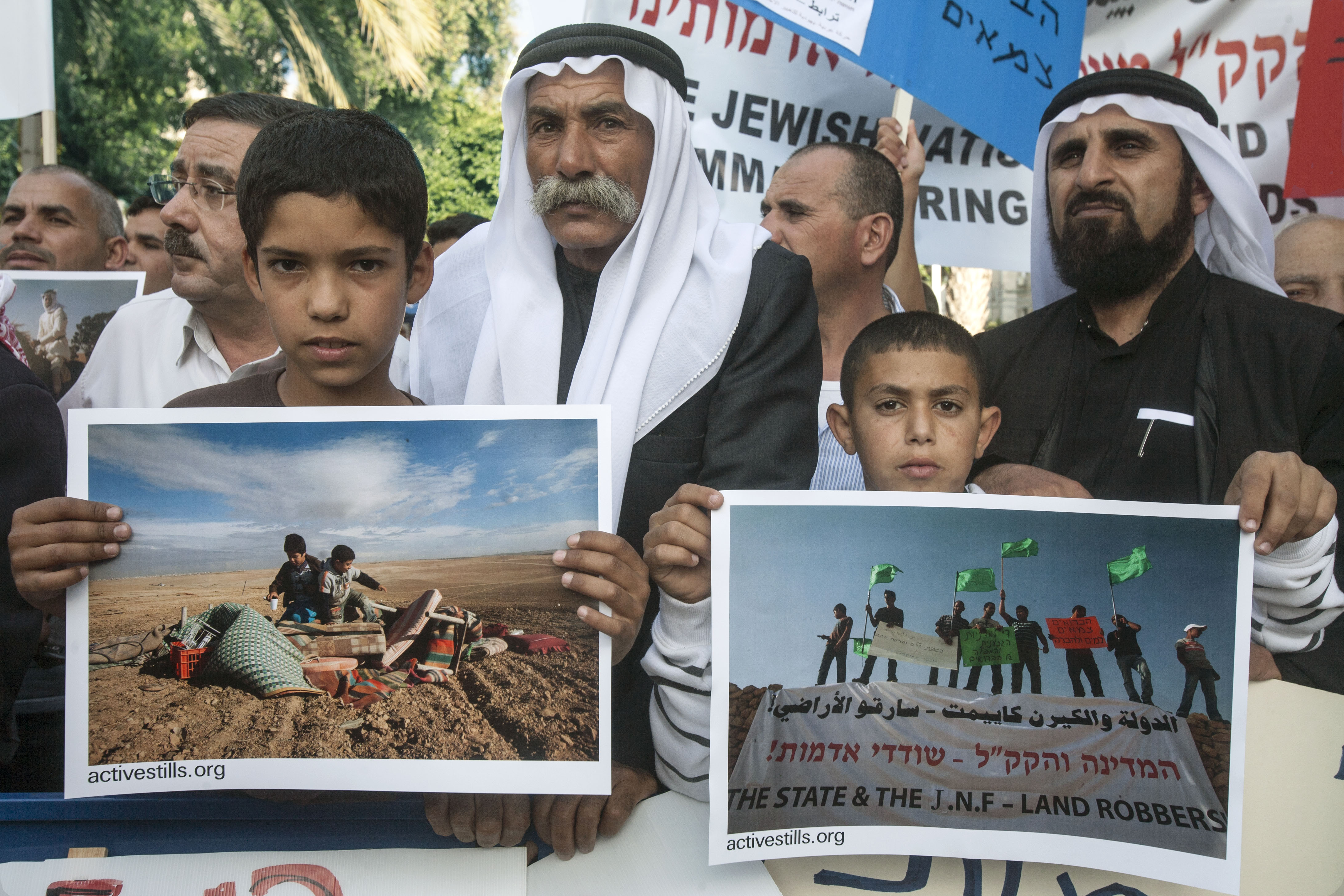 Protests against evacuation of Bedouin villages in the Negev Desert, Al Araqib