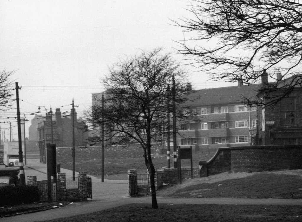 <i>new flats built on slum clearance land, taken from the grounds of Ancoats Hall</i>, 1960s. Collection of Manchester Libraries.