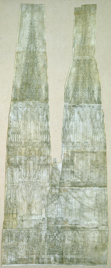 mid-13th century. Sulpiz Boisserée's reassembly of the plans for Cologne Cathedral's west front (1814), in <i>The Geometry of Creation: Architectural Drawing and the Dynamics of Gothic Design</i> by Robert Bork (London and New York, 2011).