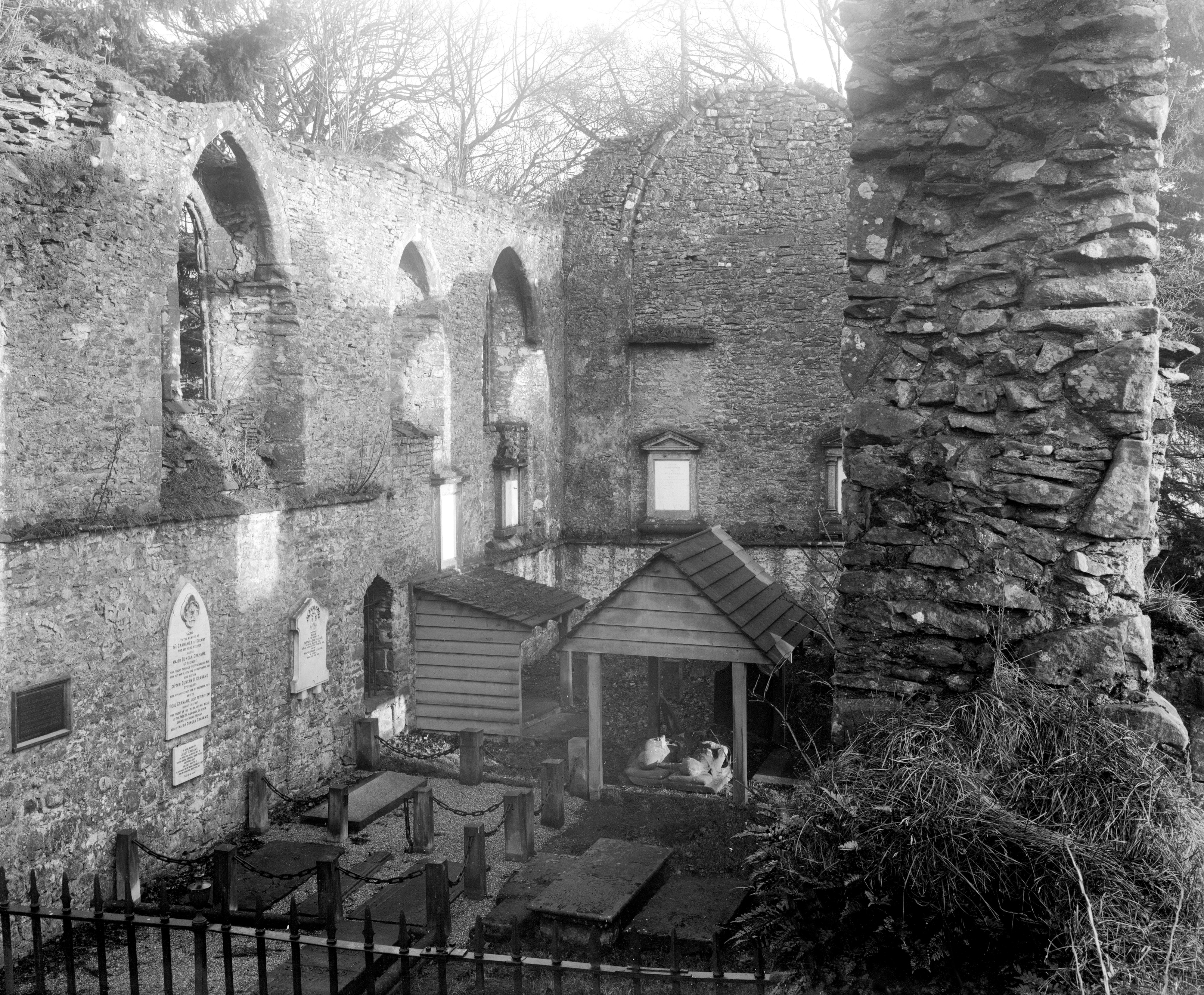 The ruined choir of Inchmahome Priory prior to the restoration project of 1926