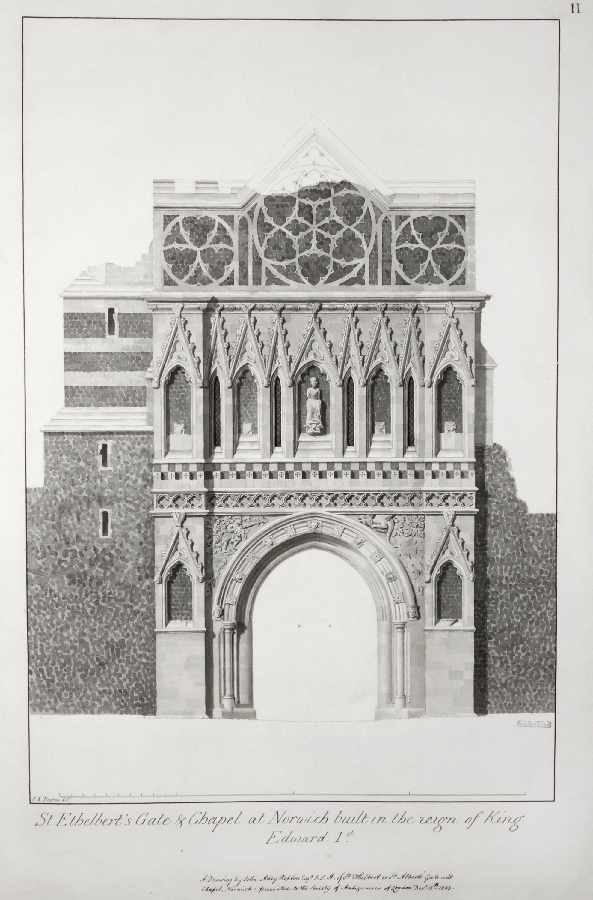 Drawing of the Ethelbert Gate (West Elevation), Norwich