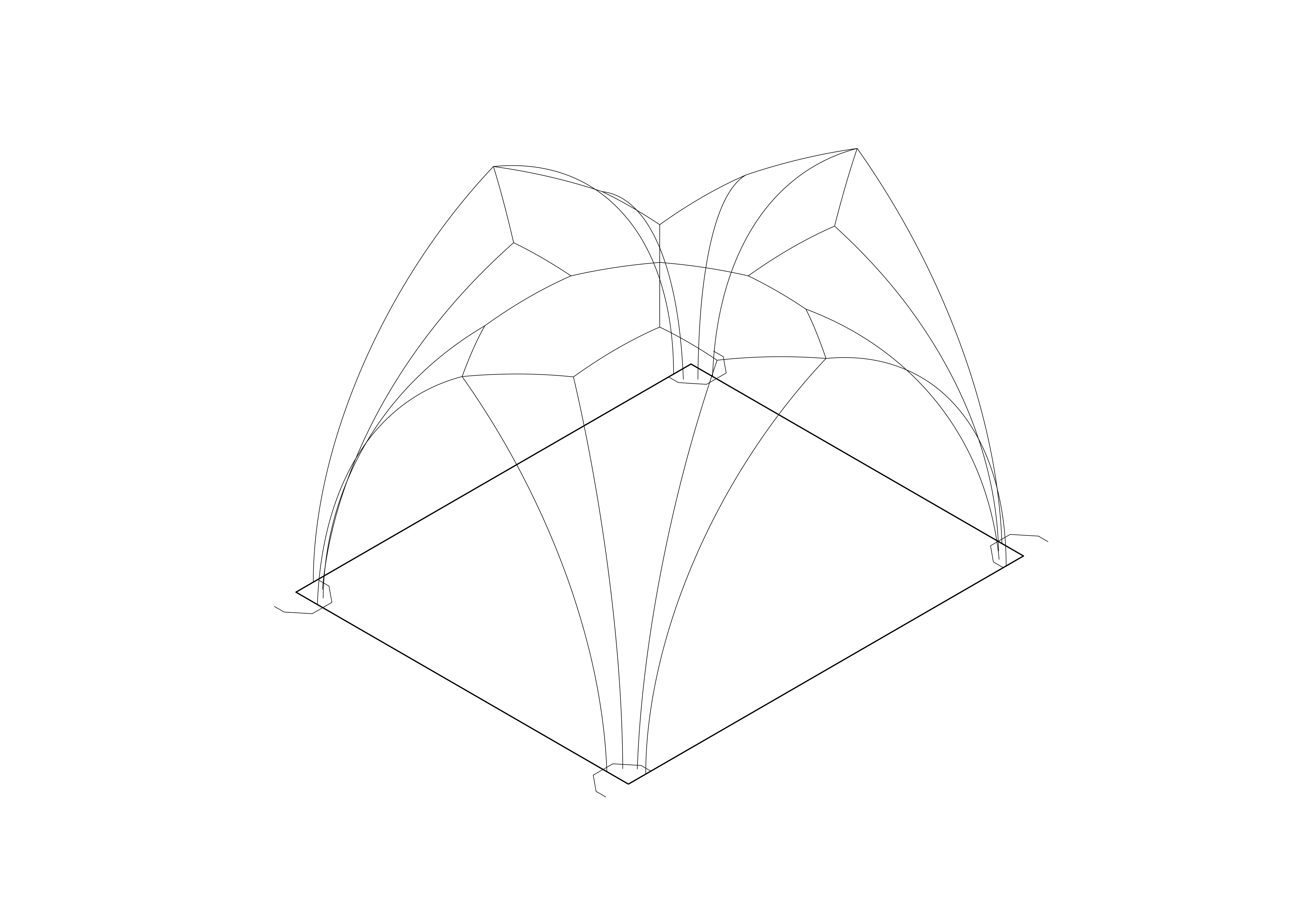 Hypothetical geometry of bay N2 in three dimensions