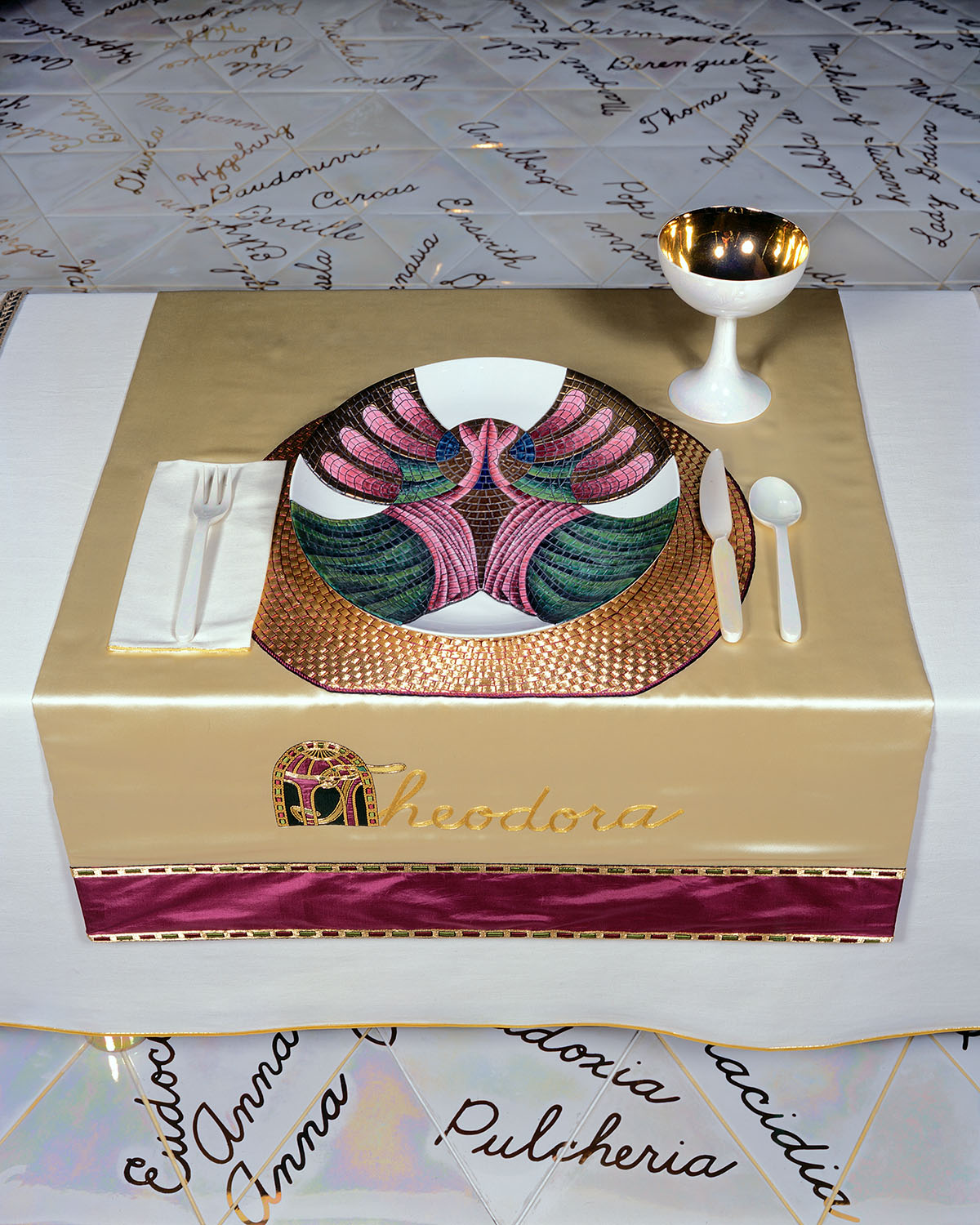 from <i>The Dinner Party</i>, 1979, mixed media. Collection of the Brooklyn Museum, Brooklyn, NY. Copyright Judy Chicago.