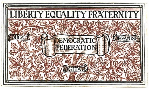 Design for the <i>Democratic Federation</i>, used on membership card, ca. 1884