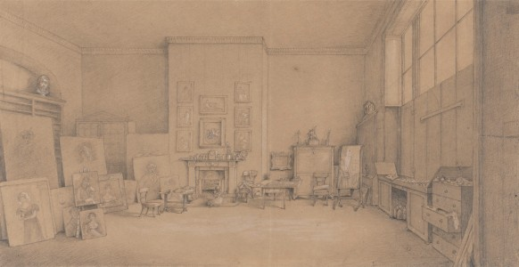 1824, graphite and white gouache on medium, moderately textured, beige, wove paper, 22.9 x 43.5 cm
