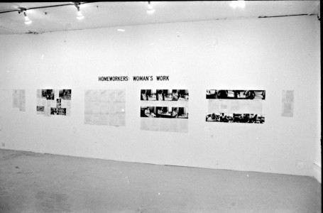 Artists Space, New York, 1979, showing on the back wall, Alexis Hunter, <i>For Every Witch</i>, 1969, black-and-white photographs mounted on five boards, 64.8 x 28.6 cm each; and Alexis Hunter, <i>War</i>, ca. 1978, colour Xeroxes mounted on three board, 64.8 x 28.6 cm each. On the wall on the right, Tony Rickaby, <i>For Bakunin</i>, 1979