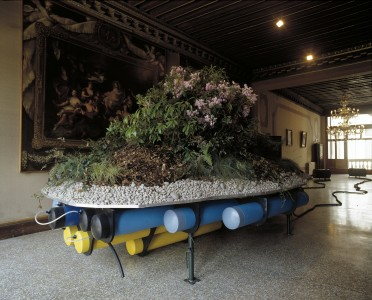 installation view at The Scottish Pavilion, Venice Biennale, 2003. Soil, rhododendrons, water, plastic pipes, metal, self-regulating pressure system, 244 x 610 x 366cm. Collection of The Modern Institute / Toby Webster Ltd.