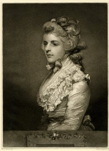 1784, mezzotint, 37.7 x 27.5 cm. Collection of the British Museum, London (Q,3.164). The precise object shown in the British Institution loan exhibition of 1823, cat. no. 10, as <i>Mrs. Twiss</i>, has yet to be identified. Mannings noted that it could be as yet unlocated, or it could be identical with the version in Louvre or with the version in the National Museum, Havana, Cuba (Mannings nos. 1027, 1028, 1028c). Here the object is represented by an image of an engraving by John Jones after the canvas now in Havana