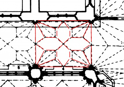 Plan of the choir aisles bay N1 overlaid with digital scan