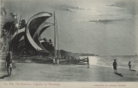 Postcard No.104, The Seashore, Colombo by Moonlight