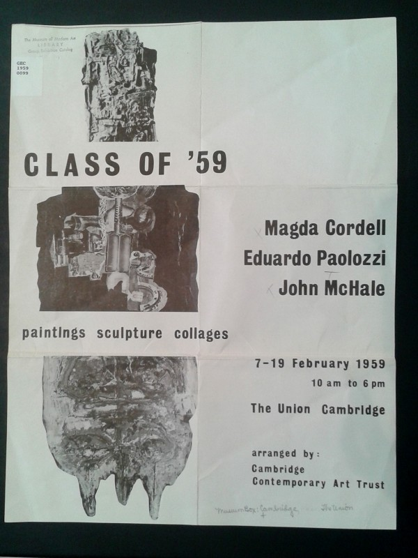 </i>Class of '59, Paintings, Sculpture, Collages: Magda Cordell, Eduardo Paolozzi, John McHale</i>