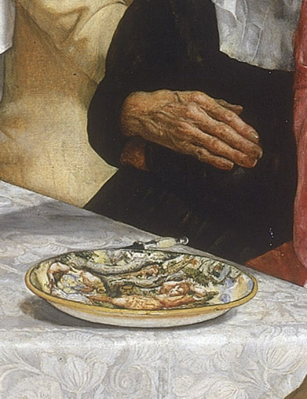 <i>Isabella</i> (detail showing the plate in front of Lorenzo), 1848–9