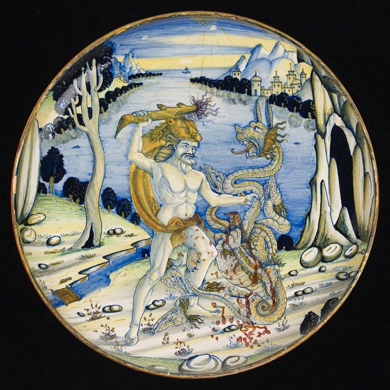 <i>Maiolica dish with Hercules and the Hydra</i>, ca. 1520