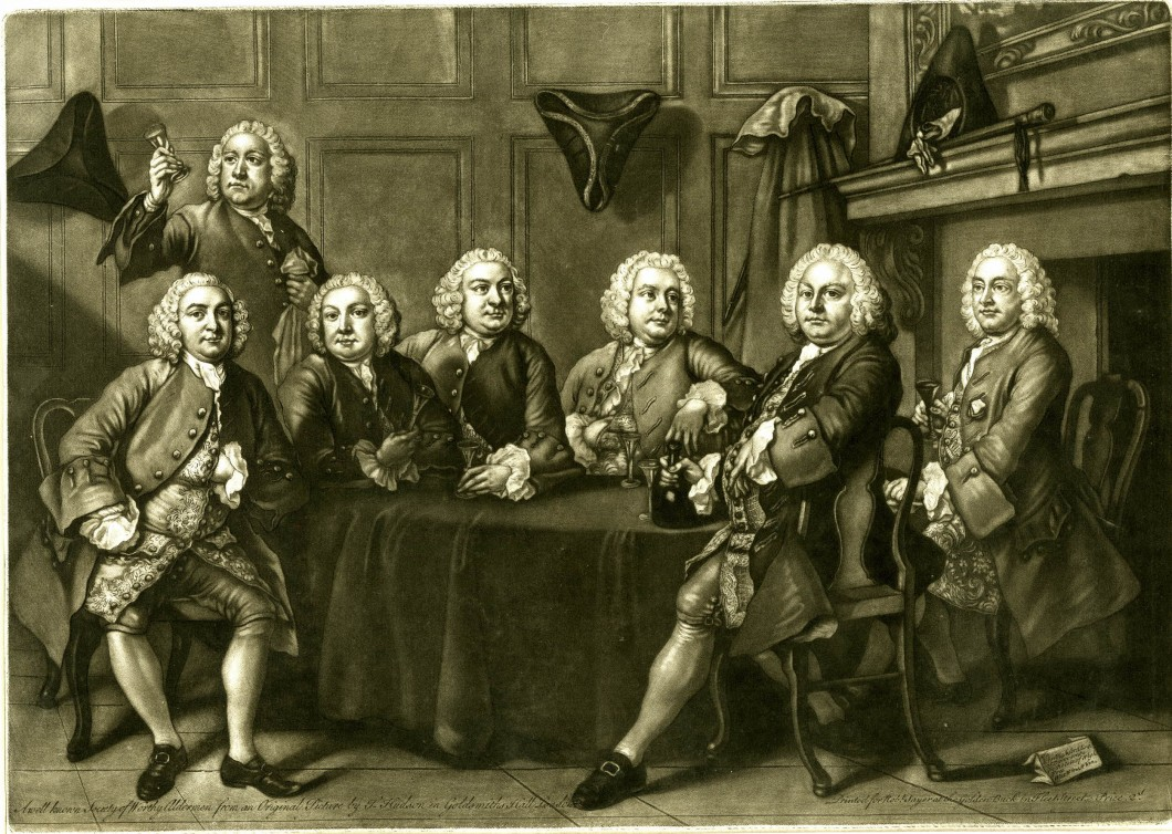 Benn's Club; group portrait of six alderman around table in club