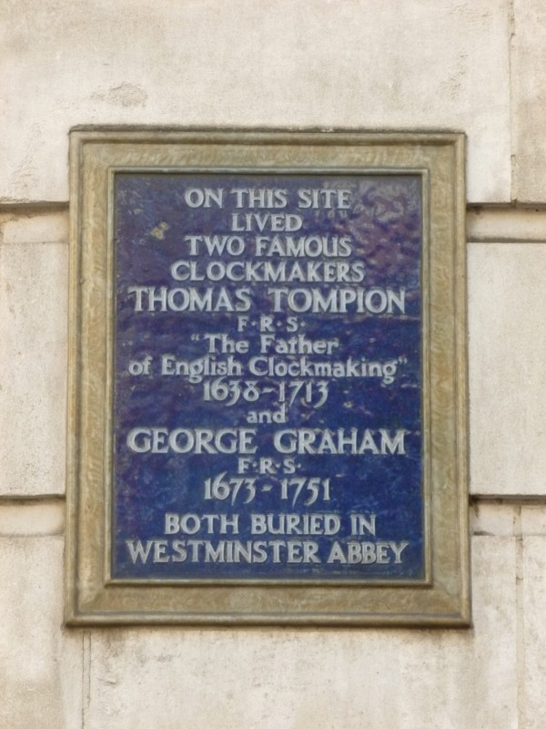 Plaque on George Graham's house in Fleet Street