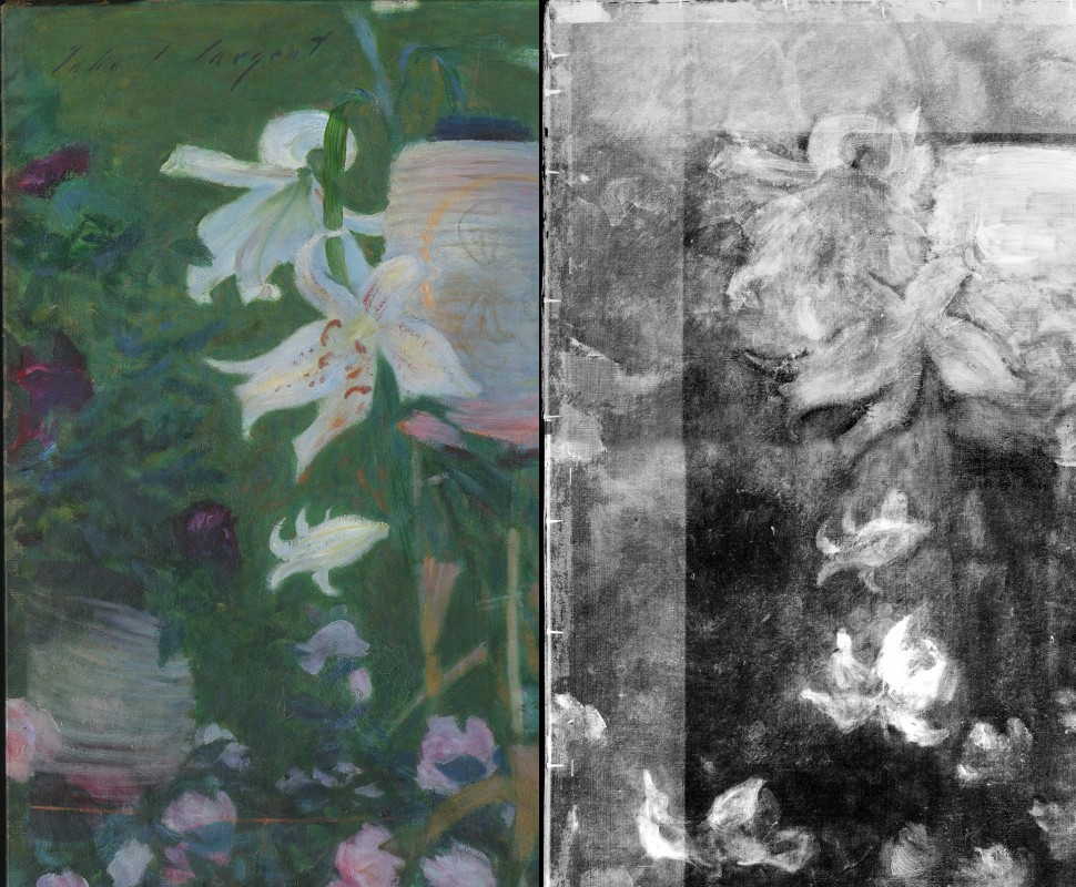 Pentimenti, details of lilies changed to roses, corner upper left in normal light and X-radiograph