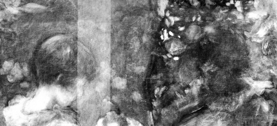 Detail of X-radiograph, centre right, showing the faces of both Dolly and Polly