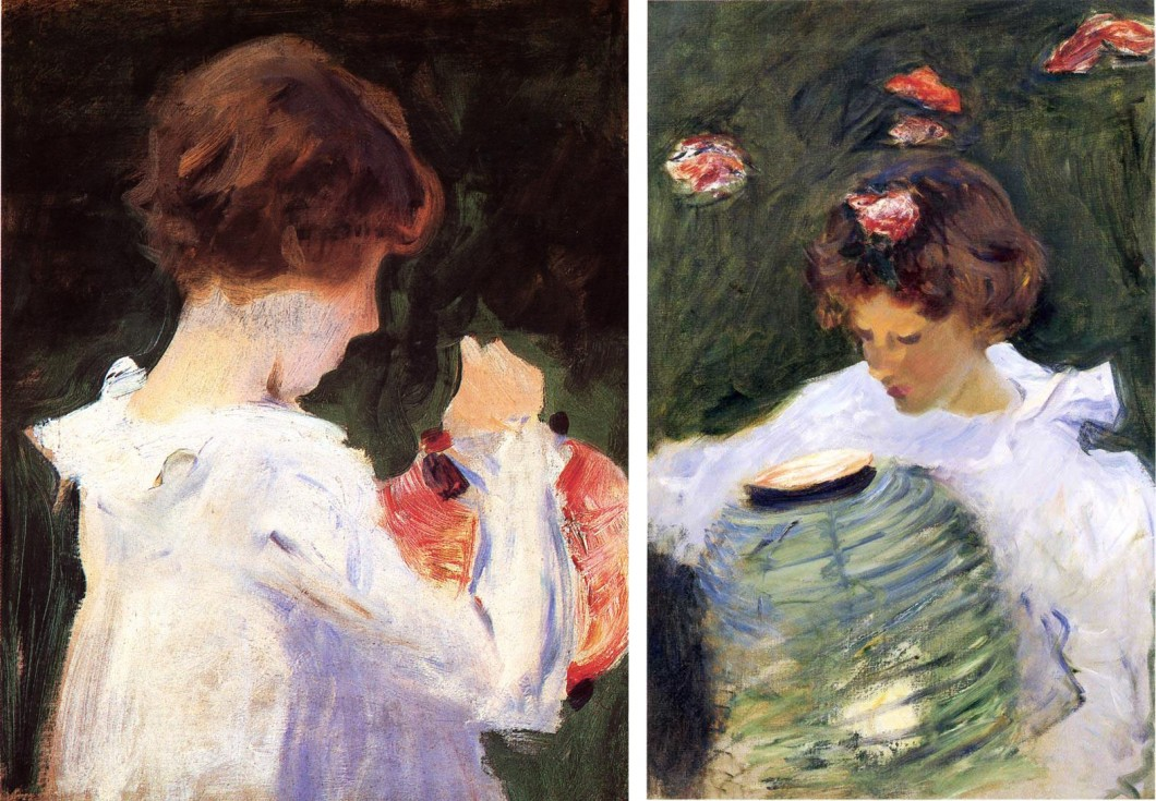 "Two images: John Singer Sargent Sketch for ""Carnation, Lily, Lily, Rose"""
