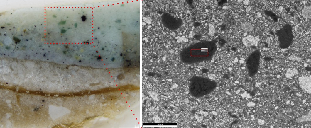 Detail of cross-section showing blue-green particle, visual light (left), SEM backscattered image (r