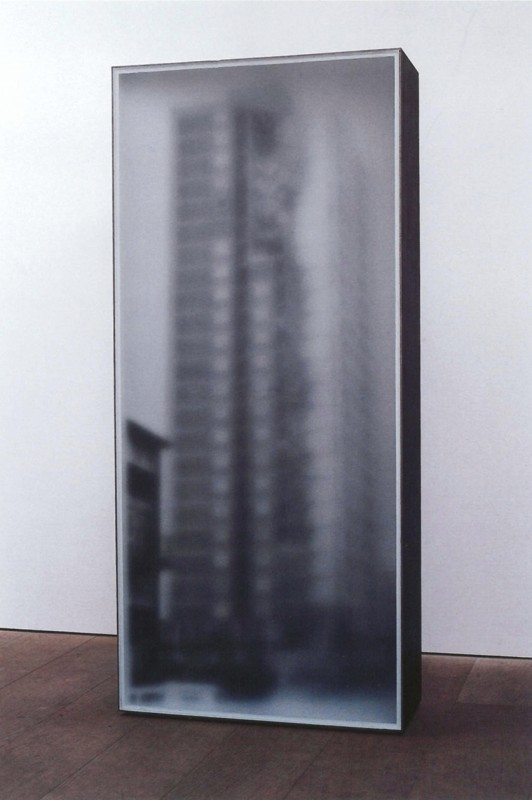 1995, black-and-white photograph, MDF and steel, 200 x 90 x 35 cm