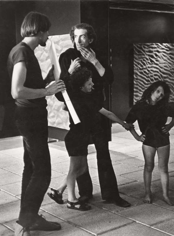Mark Boyle with his two children Sebastian and Georgia, and a visitor, to the Journey to the Surface of the Earth exhibition, Gemeentemuseum, The Hague, 1970