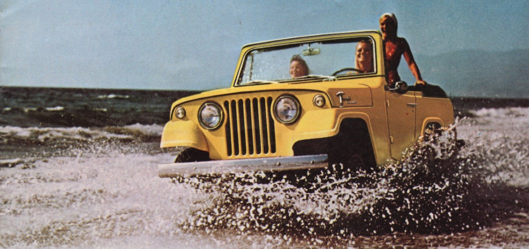 An advertisement for Jeep, painted in Prairie Gold