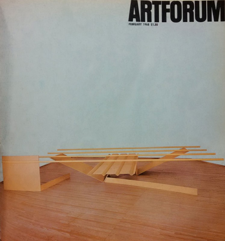 1967, Prairie on the cover of <i>Artforum</i> (Feb. 1968), with the background wall evidently erased through doctoring of the original photograph (compare to photograph in fig. 5). While the choice to white-out the background may have been done for cover design purposes alone, it also acts to lend even more levity to the sculpture and unity with the ground