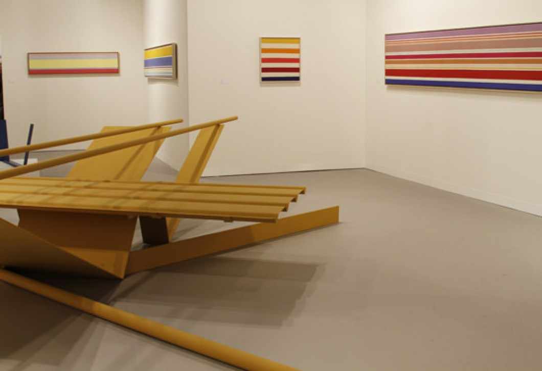 1968–72, and Kenneth Noland, Stripe Paintings, from left to right: <i>Untitled</i>, ca. 1967, <i>Via Noon</i>, 1968, <i>Untitled</i>, 1967, <i>Via Imbound</i>, 1969, displayed by Mitchell-Innes & Nash, Art Basel, Miami Beach, 2010