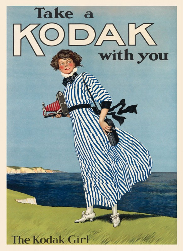 1910, advertisement poster for Kodak cameras.