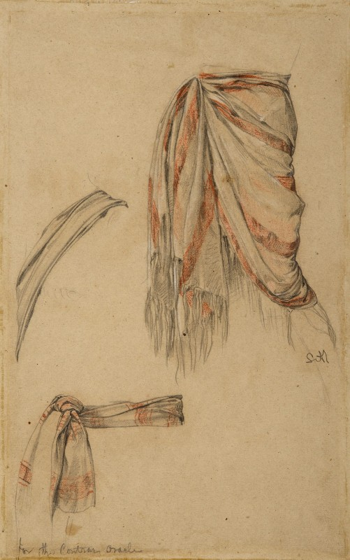ca. 1857–1858, graphite with red and white chalk on brown paper, 31 x 19.3 cm. Private Collection.