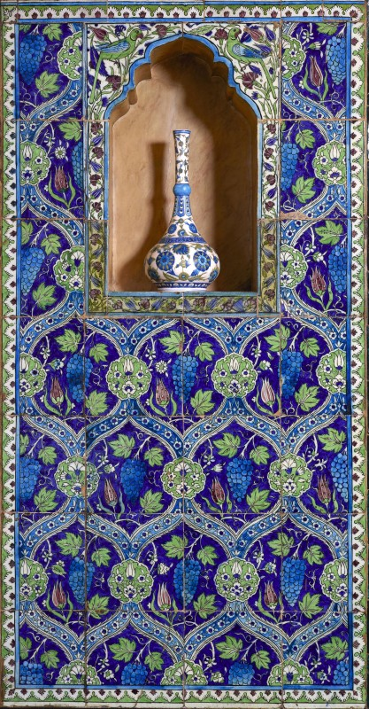 Syrian tile panel, west wall. Leighton House Museum, Royal Borough of Kensington and Chelsea.
