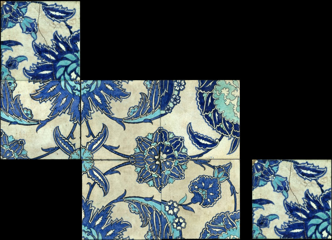 a design copied by William De Morgan from the İznik tile pair on the East Wall of the Arab Hall, Sands End Pottery, Fulham, 1888–1897, glazed earthenware, each tile 15.2 cm. Collection of the De Morgan Foundation (WDM_TO353 to WDM_TO358).