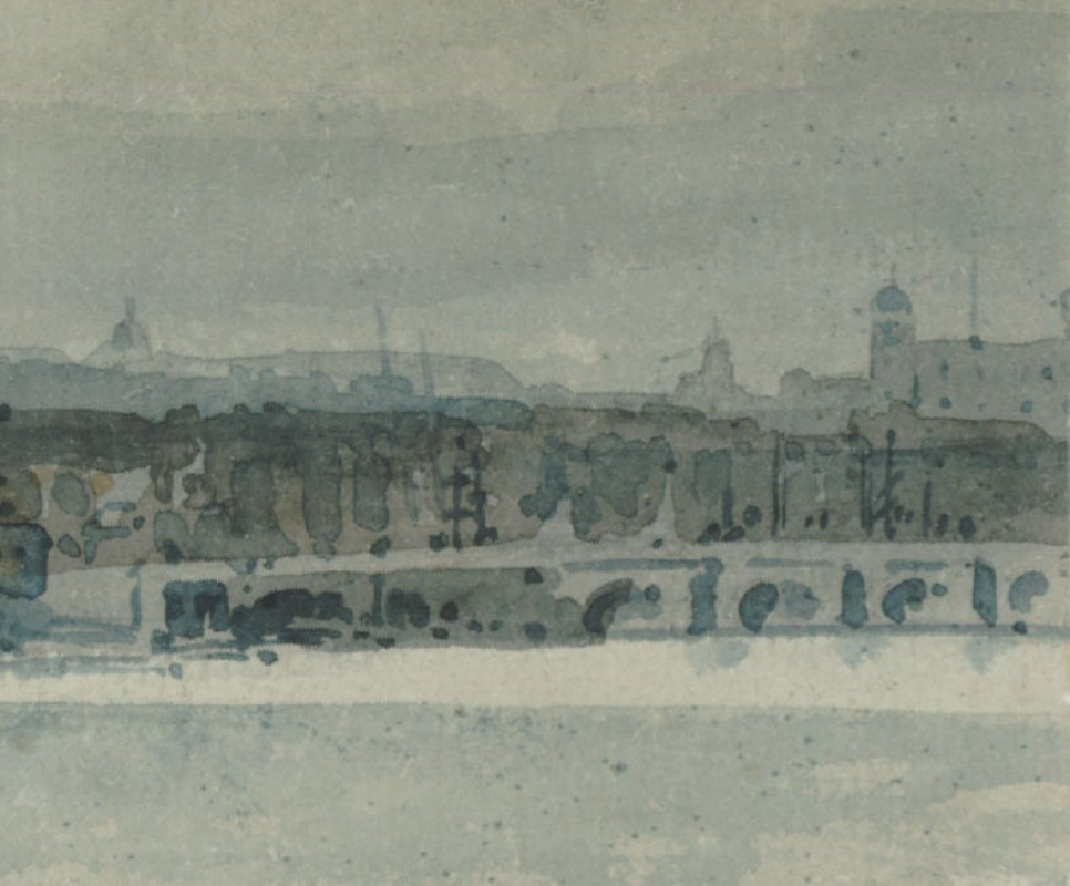 "Study for the ""Eidometropolis"" Section 7: The Thames from Queenhithe to London Bridge (detail)"
