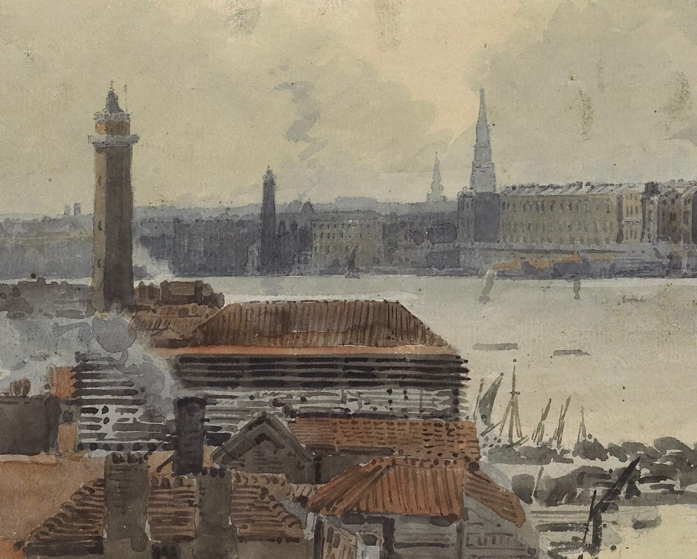 "Study for the ""Eidometropolis"" Section 4: The Thames from Westminster to Somerset House (detail)"