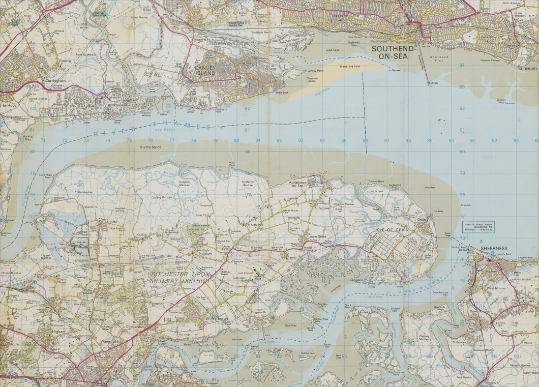Ordnance Survey Landranger 178 The Thames Estuary map (detail)