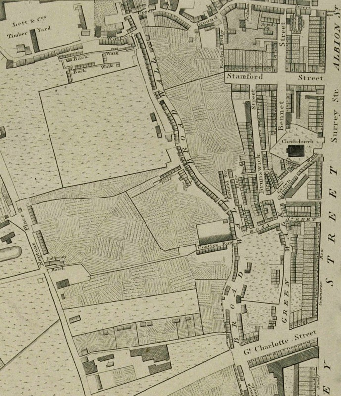 A Map of London and Westminster, detail showing the area to the west of Blackfriars Bridge