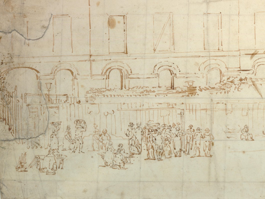 ca. 1801, graphite and pen and ink on wove paper, 29 x 53 cm. Collection of The British Museum (1991,1109.16).