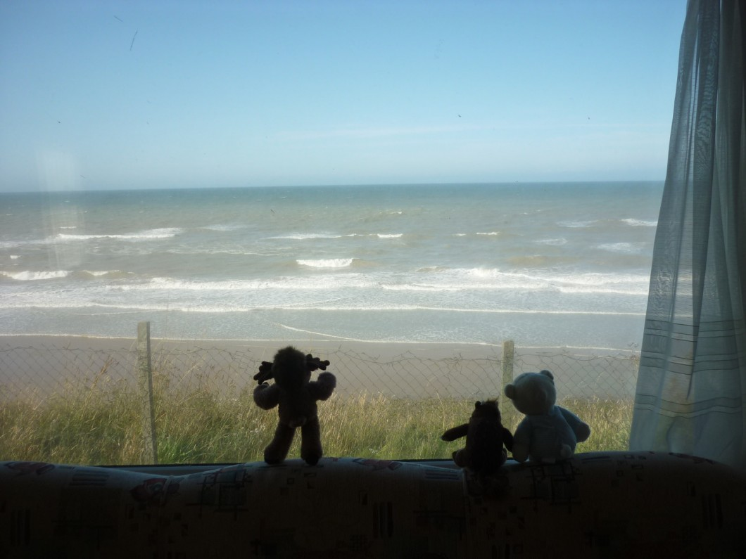 View from interior of caravan, Seaview caravan park, East Runton, Norfolk