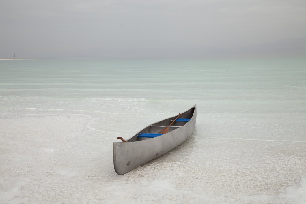 2015-2016, Canoe cast in Dead Sea magnesium, 2 paddles, 2 canvas seats, Dead Sea water, tanks, wooden welding jig, 2 silver gelatin prints, installed dimensions variable. Collection of The Arts Council (ACC28/2016).