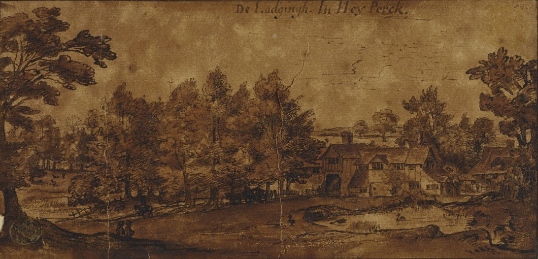 ca. 1663–66, pen and ink wash, 10.6 x 20.4 cm. Collection of British Library (Maps K.Top.124 Supp.fol.58).