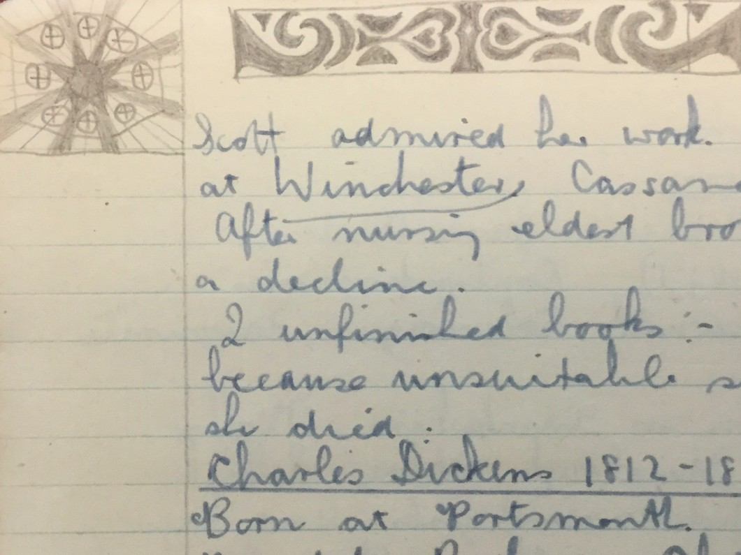 in <i>Form V Note Book</i>, undated, pen sketch. Collection of the Delia Derbyshire Archive, John Rylands Library, University of Manchester (BDD/1/3/5).