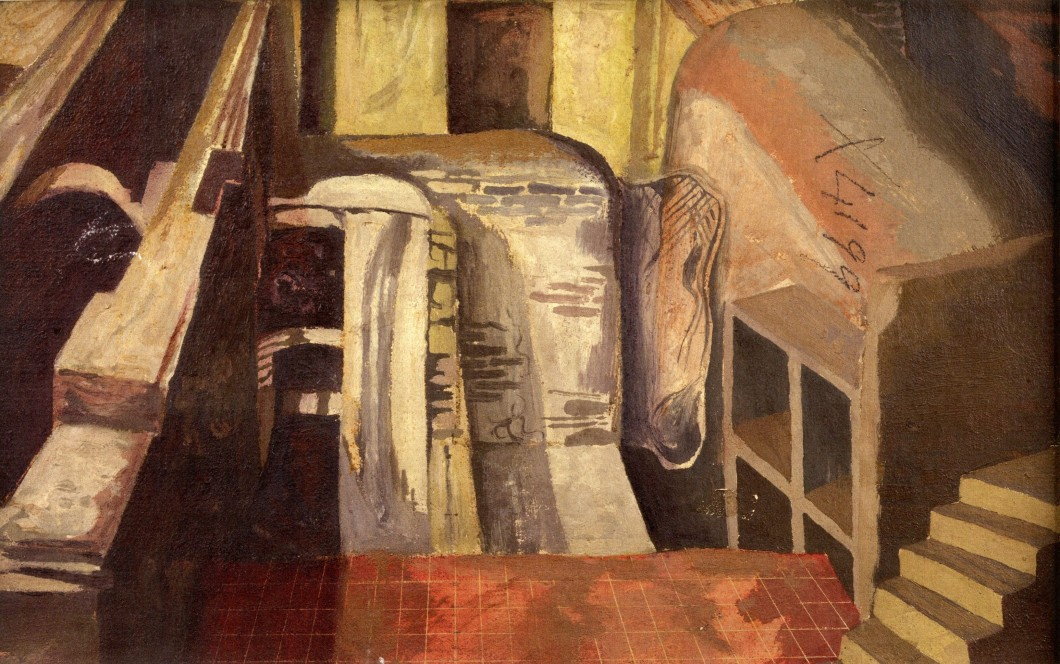 ca. 1941, oil on canvas, 39 x 58.4 cm. Painted on the verso to Robert Colquhoun, <i>The Lock Gate</i>, 1942, oil on canvas, 39.5 x 58.8 cm. Collection of Glasgow Museums (2936) Gifted by A.J. McNeill Reid, 1952.