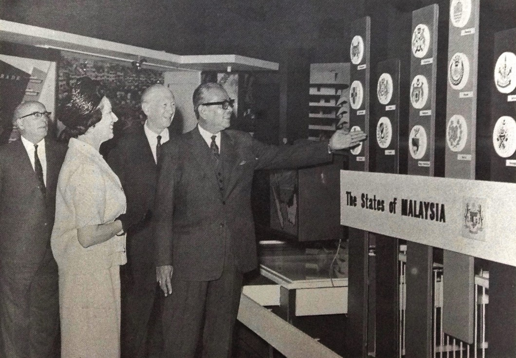 The First Prime Minister of Malaysia, Tunku Abdul Rahman (right), visiting an exhibition at Commonwealth Institute