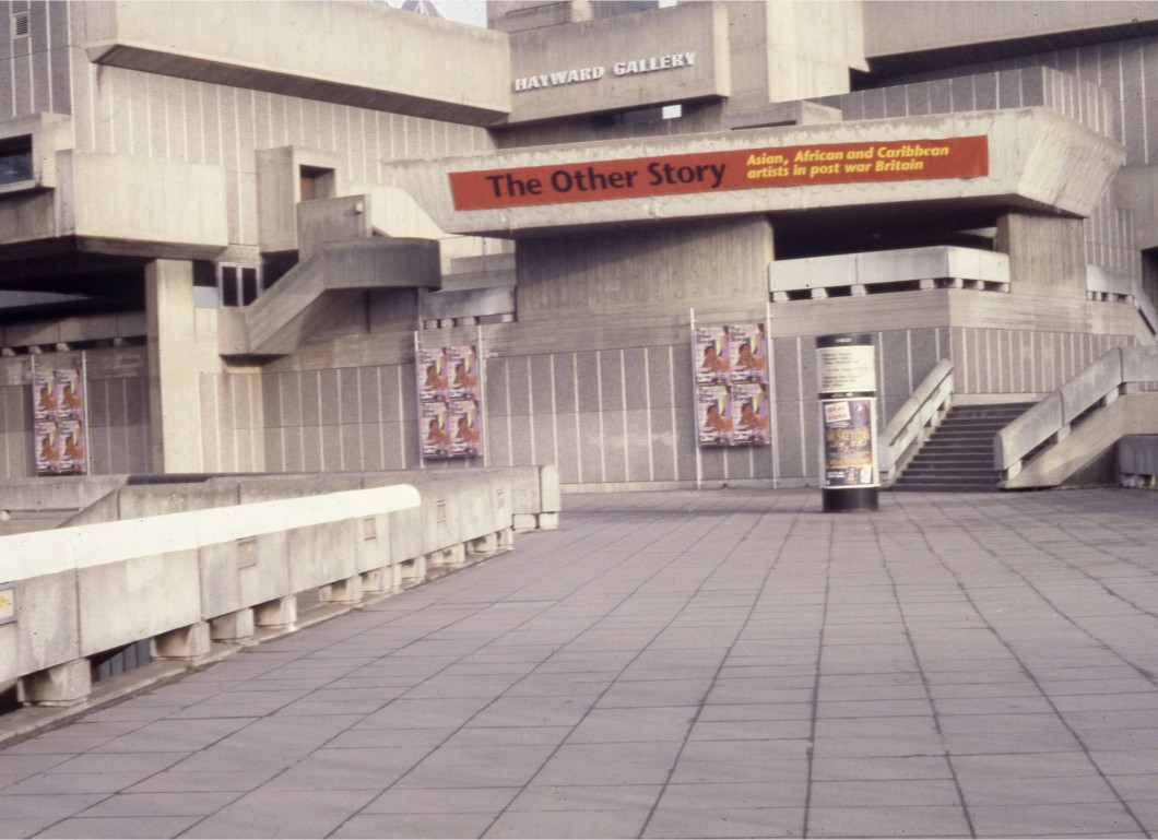 Exterior of Hayward Gallery building, with exhibition banner and posters
