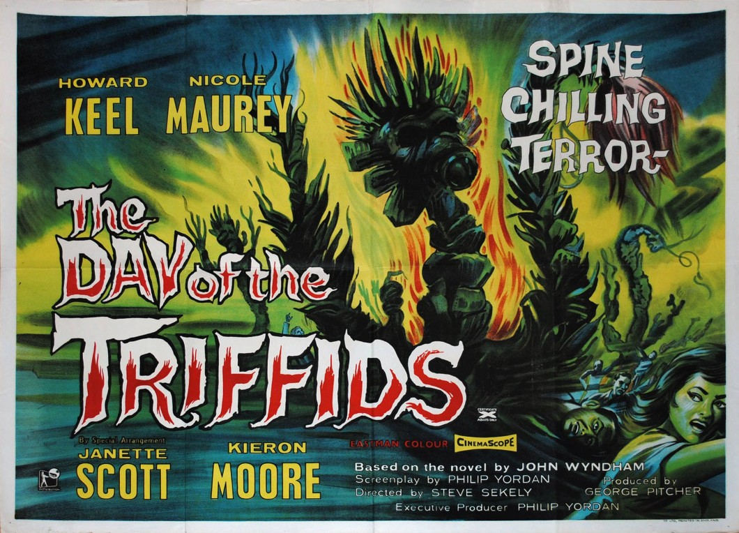 Poster artwork for The Day of the Triffids film with demonic plants in flames and people fleeing